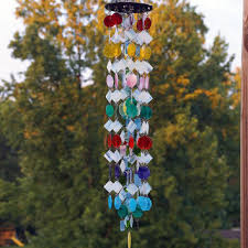 stained glass colored glass wind chimes sun catcher ooak