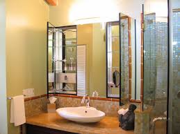 mirrored medicine cabinet in Bathroom Asian with Undercabinet