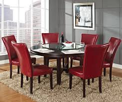 steve silver hartford 7 piece round dining room set w red chairs in
