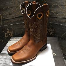 Light Brown Square Boots Mens Rodeo Cowboy Boots Genuine Leather Western Square Toe