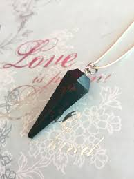 bloodstone crystal pendulum necklace for healing reiki wicca new age gift