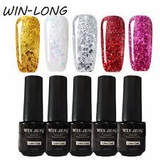 Glitter Nail Gel Polish Set 7ml 5ks Barvy Mix Uv Gel Lak Holografické Led Barva Lak Na Nehty Design Manikúra Na Nehty