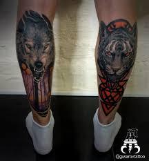 татуировка на ноге волк тату