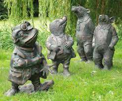 garden figures. Wind In The Willows Collection Of 4 Bronze Garden Ornaments Figures G