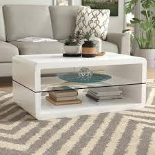 White modern coffee table Square Albano Coffee Table Wayfair Glossy White Coffee Table Wayfair