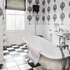 Image Hgtv Blackandwhitebathroomwallpaper Plumbworld Bathroom Wallpaper Good Or Bad Idea Plumbworld