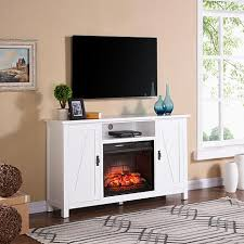 adderly farmhouse style infrared fireplace tv stand white