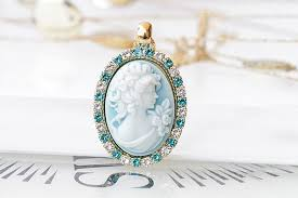 blue cameo pendant vintage style cameo