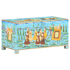 vidaXL <b>Handpainted Storage Box</b> 8x4x4cm Solid Mango Wood Sale ...