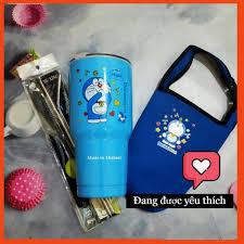 Ly giữ nhiệt Doremon xanh kèm túi vải Doremon và bộ ống hút inox - cọ rửa  ly inox