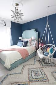 hanging chairs for girls bedrooms. Simple Chairs Dark Blue Girls Room With Turquoise Velvet Bed And Macrame Hanging Chair In Hanging Chairs For Girls Bedrooms