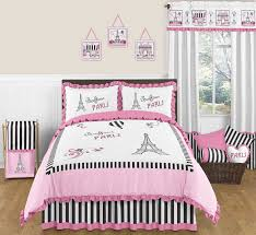 Sweet Jojo Designs Pink U0026 Black Paris France Full Queen Girls Modern  Bedding Set 846480024385 | EBay