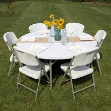 whole pp plastic round folding table for outdoor or indoor reception