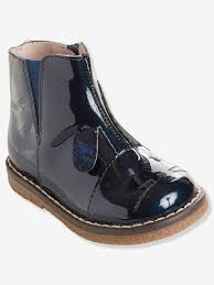 girls patent leather boots blue dark solid
