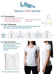 Lerage Size Chart Ladies V Neck Lerage Shirts