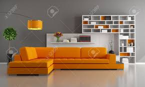 Orange Couch Living Room Contemporary Livingroom With Orange Sofa And Bookcase Rendering