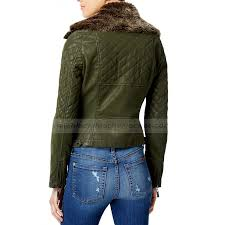 women s green faux leather quilted er jacket with fur collar