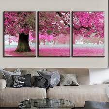 3 pcs set discount framed paintings modern landscape canvas print pink strewn petal canvas wall art picture top home decoration in painting calligraphy  on wall art canvas picture print with 3 pcs set discount framed paintings modern landscape canvas print