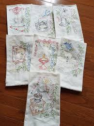 tea towel 43 00 tea towel set kitchen dish towels embroidered tea towel set seven days of