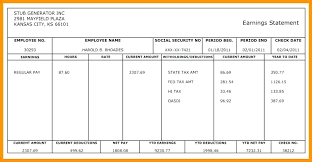 Check Stubs Template Free Mesmerizing Fake Pay Stubs Templates Stub Template Sample Paycheck And One
