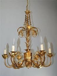six arm antique gold chandelier drum