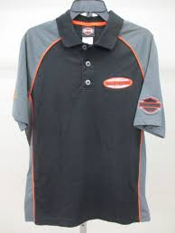harley davidson mens black polo racing shirt sz m