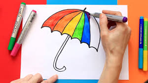 Learning Colors Of The Rainbow Draw A Colorful Umbrella Youtube