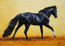 running horses painting horse painting black beauty by crista forest