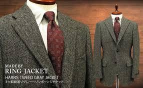 made by ring jacket harris tweed three on step return marks gray herringbone jackets messenger