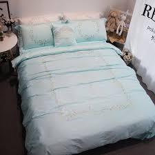 5pcs 100 cotton luxury satin embroidery duvet cover set girls gift pastel blue bedding king