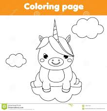 Unicorn Coloring Page Educational Children Game Drawing Kids