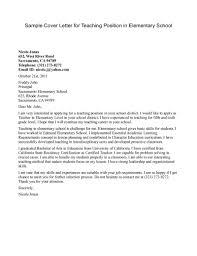 Sample Cover Letter For Teaching Position In Elementary School
