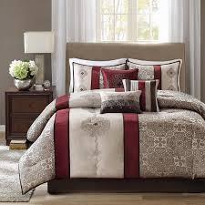 com madison park donovan 7 piece comforter set queen red home kitchen