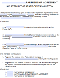 This is a sample of a limited partnership agreement. Free Washington Partnership Agreement Template Pdf Word Start Your Small Business Today