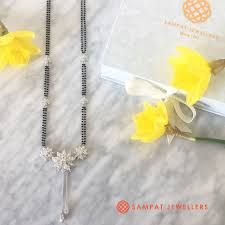 Image Design Jewellery Inc Latest Floral Mangalsutra Design In White Gold Lotus And