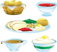 mashed potatoes and gravy clipart. Set Of Five Colorful Thanksgiving Dinner Food Icons Vector Art Illustration To Mashed Potatoes And Gravy Clipart