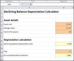 Depreciation Schedule Calculator Declining Balance Depreciation Calculator Calculators