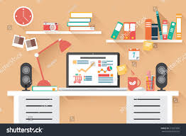 home office work desk. Home Office Desk - Flat Design, Long Shadow, Work Desk, Computer And Stationery R