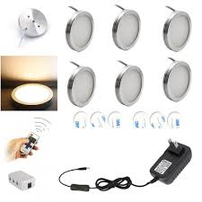 Wireless Under Counter Lighting Us 23 76 34 Off Aiboo Led Under Cabinet Lighting 6pcs Led Puck Llights With Wireless Rf Remote Dimmable For Under Counter Shelf Furniture Lights In