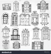 vintage window drawing. set of vintage windows window drawing