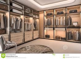 walk closet. 3d Rendering Minimal Loft Luxury Wood Walk In Closet With Wardrobe. Interior, House. N