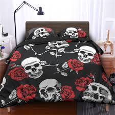 fanaijia rose flower sugar skull print duvet cover set with pillowcase 3d printed skull bedding set