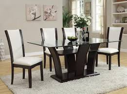dining table chairs leather. acm70505-02 7 pc malik collection white leather like vinyl upholstered chairs and espresso finish dining table