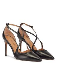crossover straps high heel pumps in black leather