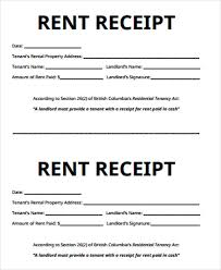 examples of rent receipts receipt for rent sample 7 examples in word pdf