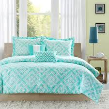 The teal and white geometric square print on the Natalie comforter ... & The teal and white geometric square print on the Natalie comforter set will  create a fun · Teen ComfortersTeen BeddingBedspreadsBeach ... Adamdwight.com