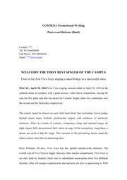 Informative Memo Sample Comm311 Promotional Writing