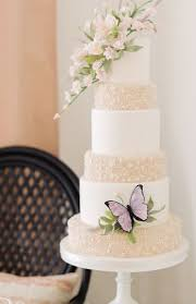 White And Gold Sparkle Butterly Wedding Cake Wedding Cakes