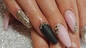 cjp acrylic nails pink black and gold using tips acrylic blocking glitter encapsulation