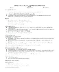 Resume Information New Entry Level It Resume With No Experience Examples Objective Full For